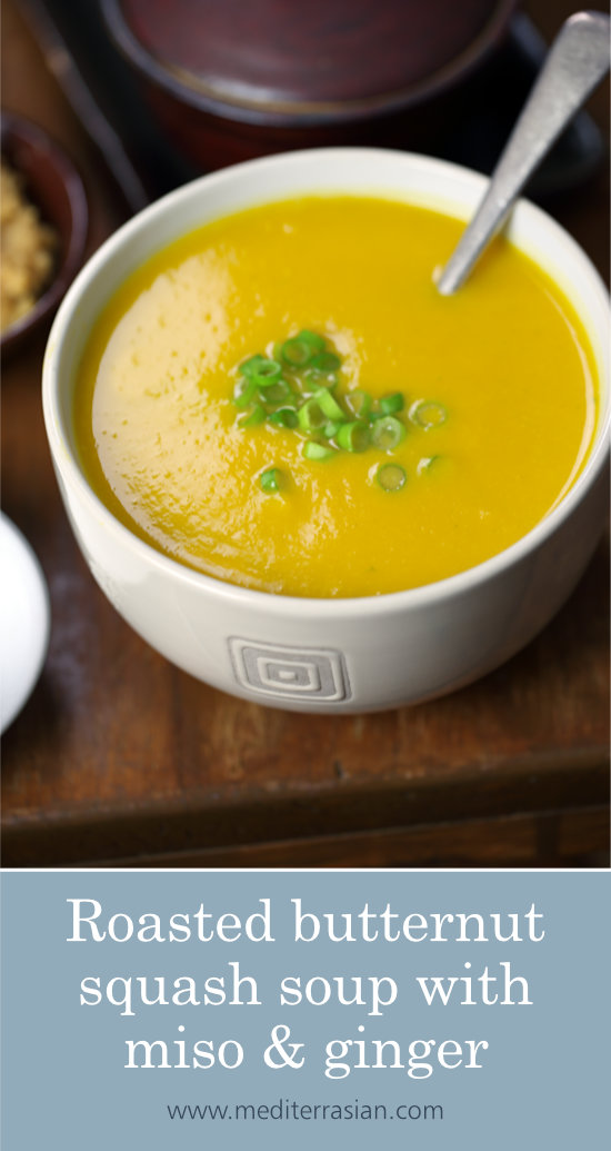 Roasted butternut squash soup with miso and ginger