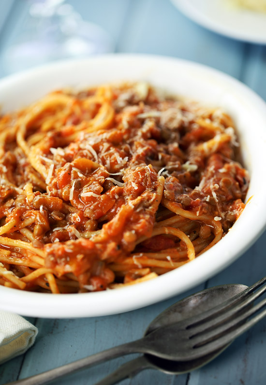 Lentil and tuna Bolognese
