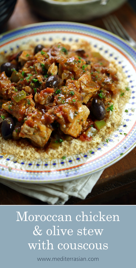 Moroccan chicken and olive stew with couscous