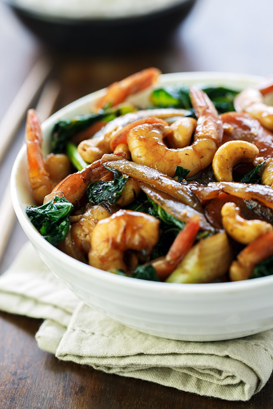 Shrimp, kale and cashew stir-fry