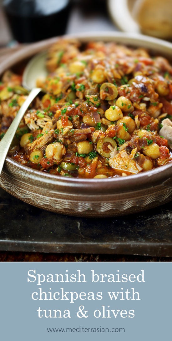 Spanish braised chickpeas with tuna and olives