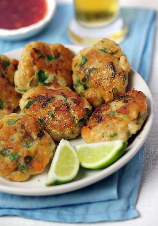 Thai fish cakes with sweet chili-lime dipping sauce