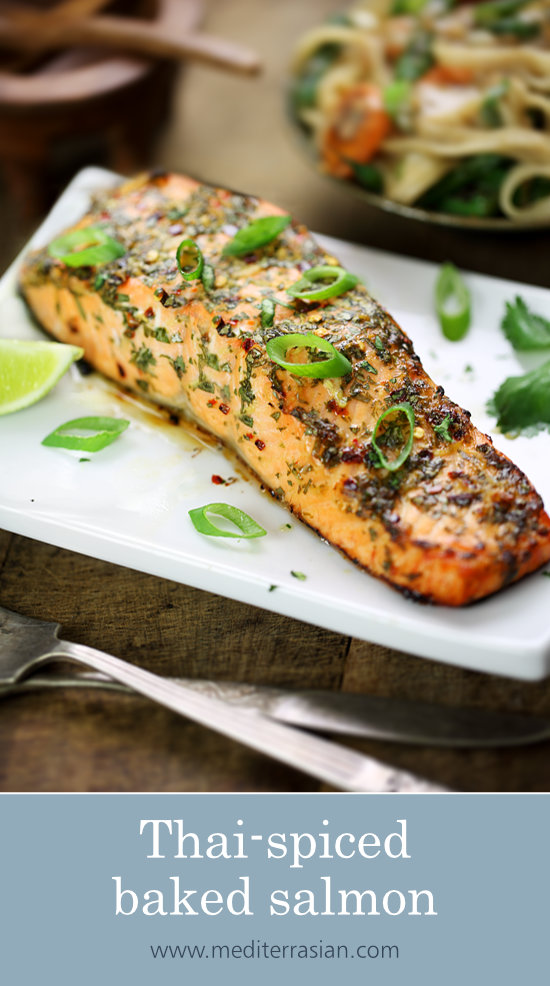Thai-spiced baked salmon
