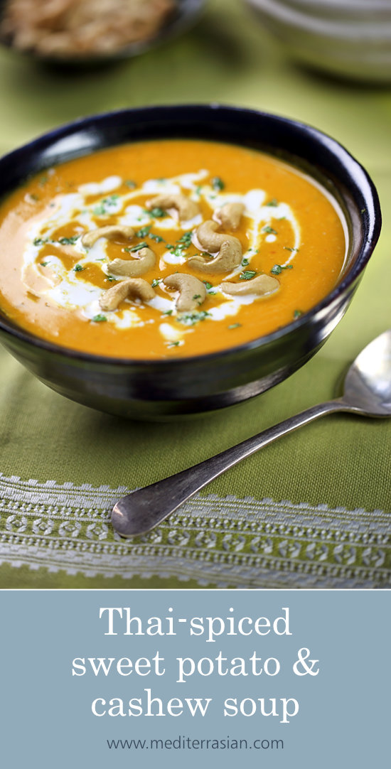 Thai-spiced sweet potato and cashew soup